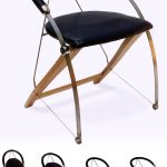 Folding chair in Titanium, leather and wood