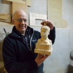 Jeff with bust made at extended MakerSpace