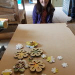 Marle's lasercut wall paper and plywood flowers @MakerSpace