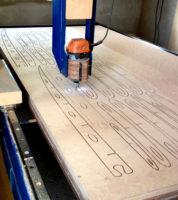 Cutting surfboard ribs