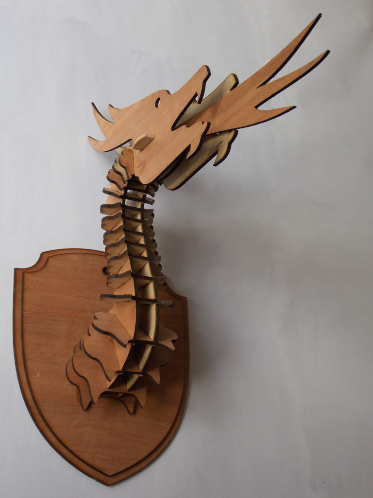 Laser cut dragon head trophy