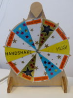 Karen's wheel of fortune made on the MakerSpace