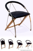 Folding chair in Titanium, leather and wood: Designer/Maker Aaron Moore
