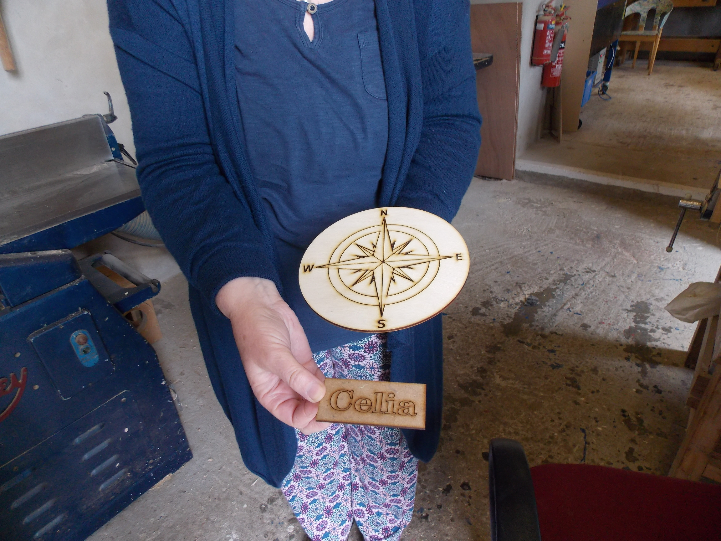 Compass rose and name made at Maker Space