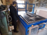 Cutting camper-van bed at Maker Space