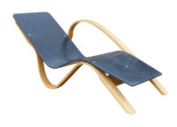 Chaise long in steam bent ash and recycled plastic: Designer/Maker Aaron Moore