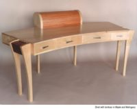 Large desk in maple and mahogany: Designer/Maker Aaron Moore