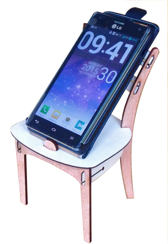 Phone chair with phone: Designer/Maker Aaron Moore